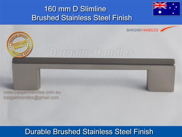 [160mm Slimline Square Handle Brushed Stainless Steel]