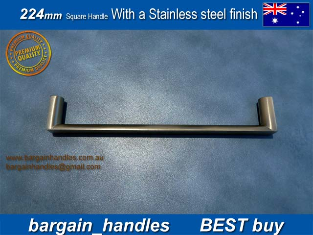 224mm Square Handle with a Brushed Stainless Steel Finish