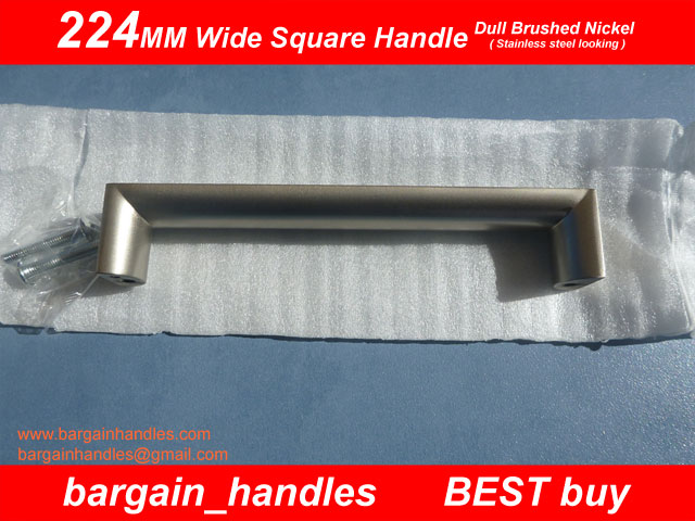 224mm Wide Square Handle Finish in Dull Brushed Nickel