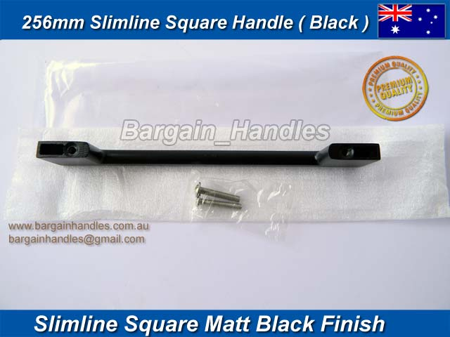 [256mm Slimline Square Handle Matt Black]