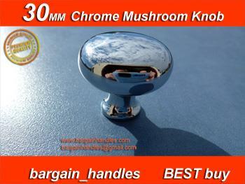 30mm Mushroom Knob Polished Chrome
