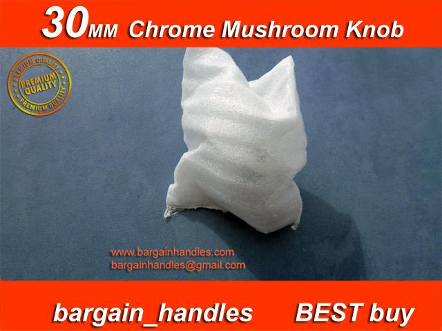 30mm Mushroom Knob Finish in Polished Chrome Solid Metal