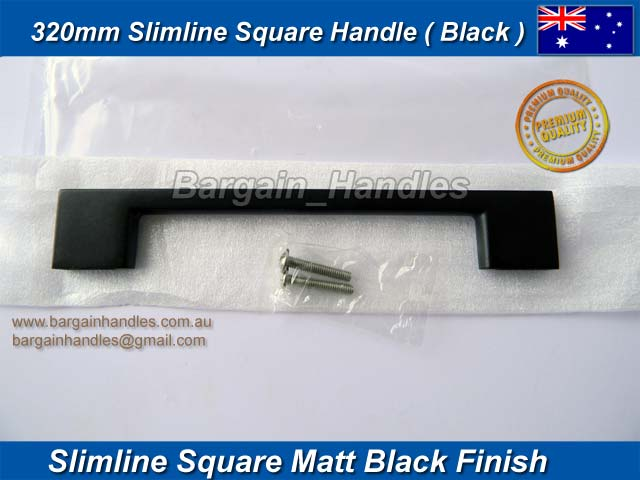 [320mm Slimline Square Handle Matt Black Finish]