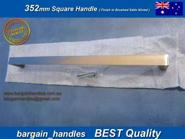 [352mm Square Handles Finished in Brushed Satin Nickel]