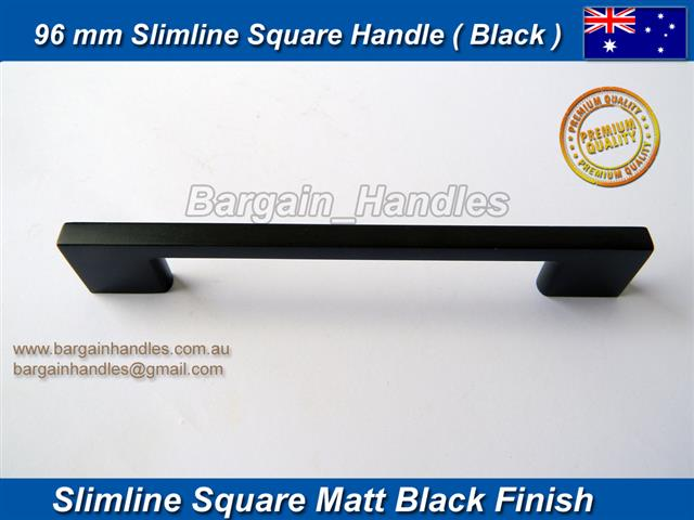 96mm Slimline Square Handle / D-Square Matt Black Finish
