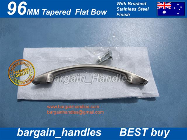[96mm Tapered Flat Bow Brushed Stainless Steel finish]